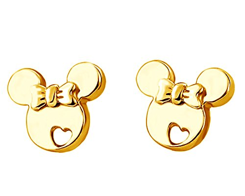 Christmas Sale 14K Yellow Gold Over Sterling Silver Mickey Mouse Bow Heart Cut-Out Stud -