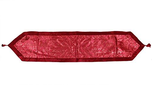 """Northlight 16"""" x 72"""" Red Glitter Swirl Christmas Table Runner with Velveteen Trim -  31452477"""