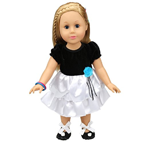 Shero 12 - 16 Inches Baby Doll's Dress Black and White Dress (12 White Doll)