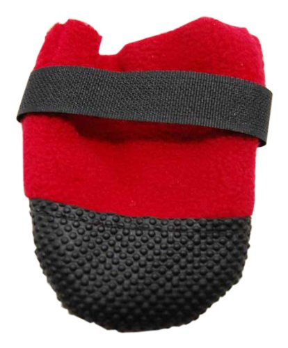 Muttluks Hott Doggers Lightweight Fleece 2.25-Inch to 2.75-Inch Dog Boots, X-Small, Red, Set of 4