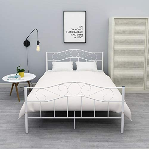 HOMERECOMMEND Metal Bed Frame Queen Size White Platform with Headboard and Footboard No Box Spring Needed Hevay Duty Steel Slats