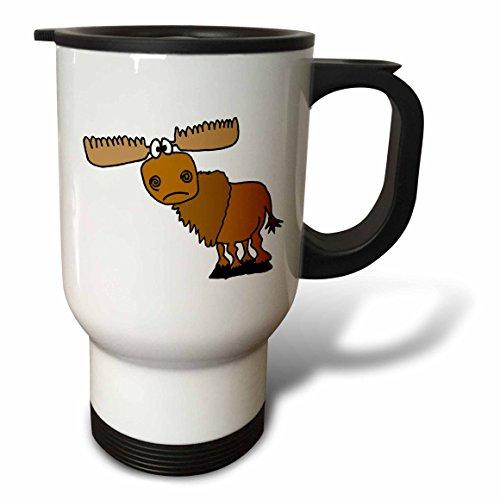 Cartoon Moose - 3dRose tm_196260_1 Funny Grumpy Moose Cartoon Stainless Steel Travel Mug, 14 oz, White
