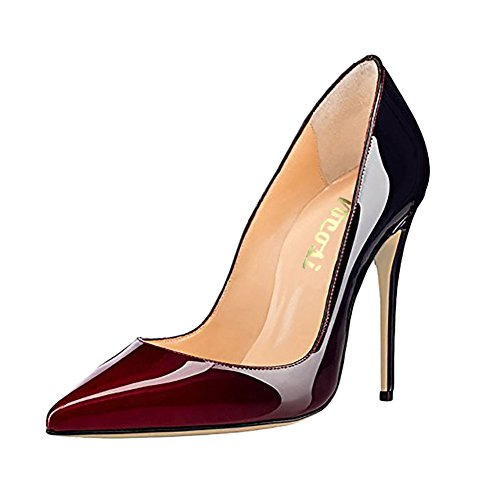 VOCOSI Pointy Toe Pumps for Women,Patent Gradient Animal Print High Heels Usual Dress Shoes 10cm-WineB 6.5 -
