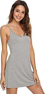 WiWi Women's Bamboo V Neck Full Slips for Under Dresses Chemise Nightgowns Sleeveless Sleep Shirts S-XXXXL