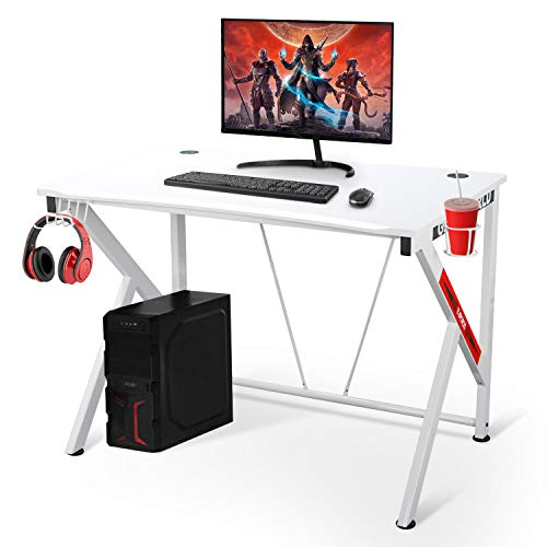 """Gaming Desk - 42"""" K Shaped Computer Table for Home Office Gamer Workstation with Headphone Hooks and Cable Management Study Writing Desk (White)"""