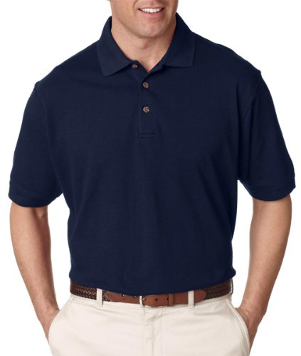 (UltraClub Men's Relaxed Fit Taped Neck Pique Polo Shirt, Small, Navy)
