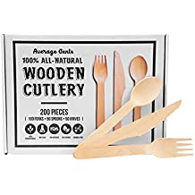 Disposable Wooden Cutlery Utensil Set by Average Gents. Eco-Friendly, Biodegradable, and Compostable, Awesome for Camping and BBQ's Pack of 200 |100 Forks, 50 Spoons, 50 Knives| Natural and Organic |