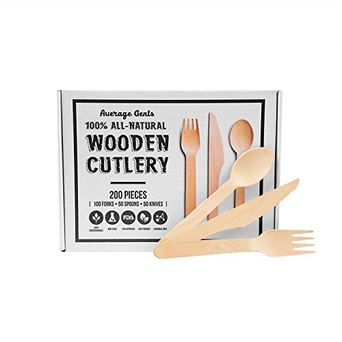 Disposable Wooden Cutlery Utensil Set by Average Gents. Eco-Friendly, Biodegradable, and Compostable, Awesome for Camping and BBQ's Pack of 200 |100 Forks, 50 Spoons, 50 Knives| Natural and Organic | ()