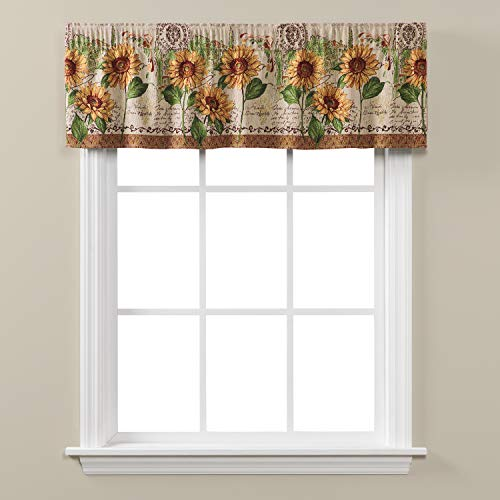 (SKL Home by Saturday Knight Ltd.  Tuscan Sunflowers Valance, Earth tones,  56 inches x 13 inches)