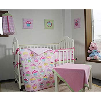 Image of 100% Cotton Nursery Crib Bedding Set Pink Cup Cake/Cupcake Baby Bedding Set 12 PCs Baby Girl Set Comforter+Bumpers+Skirt+Blanket+ 3 Wall Hangings +2 Fitted Sheet +1 Diaper Bag Baby Girl Gift Idea Home and Kitchen