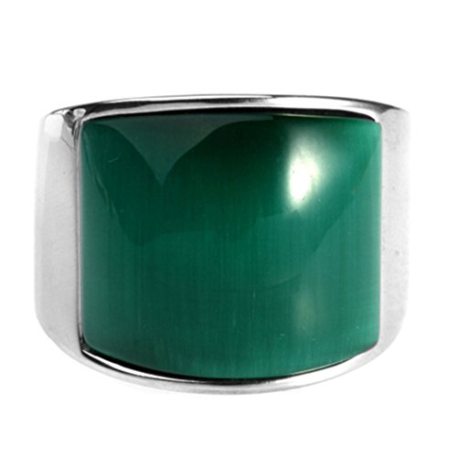 HIJONES Men's Stainless Steel Big Agate Stone Crystal Ring, Silver Green, Size 11