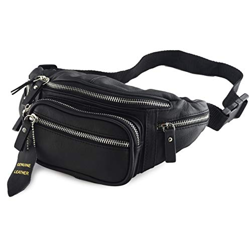 Nabob Leather Fanny Pack (Black or Brown) - Multifunction Hip Bag Travel Pouch for Men and Women- Multiple Pockets & Sturdy Zippers Ideal for Hiking Running Cycling and More