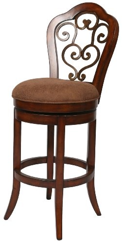 Pastel Furniture CR-219-30-MA-CS-654 Carmel Swivel Barstool, 30-Inch, Murano Accent and Cosmo Sepia and Dakota Toffee