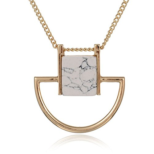 PSNECK Hot Sale Gold Plated Casual Sweater Chain Square Faux Marbled Stone Pendant Necklace