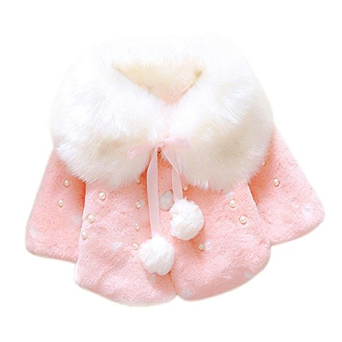 JIANLANPTT Winter Baby Girls Faux Fur Fleece Imitation Pearls Princess Outerwear Coat Pink 9-12months