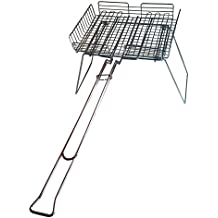 Rome Industries 66D Rome's Chrome Plated Steel Basket Broiler Deluxe with Grill Stand, 29-Inch, Chrome