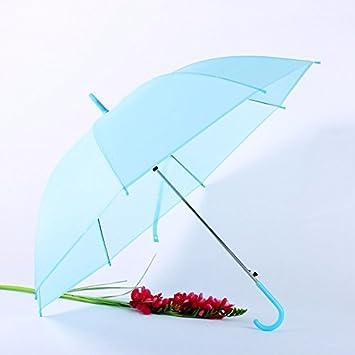 Mayuan520 _ Paraguas Translucido De Color Caramelo De Color Solido Largo Paraguas Paraguas Paraguas Automático Compacto