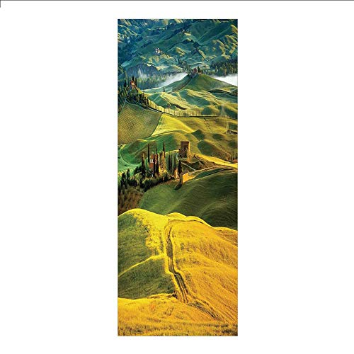 (3D Decorative Film Privacy Window Film No Glue,Tuscan,Idyllic Landscape of Tuscany Road and Cypresses to Medieval Farmhouse Image,Mustard and Green,for Home&Office)