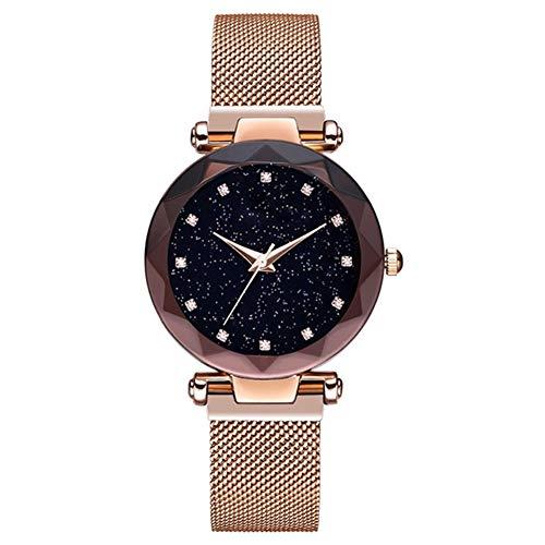 Mesh Stretch Ladies Watch - lightclub Luxury Rhinestone Starry Sky Round Dial Mesh Band Women Quartz Wrist Watch Gift Golden