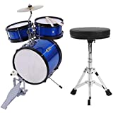 Kids Drum Sets, 3 PCS Complete Beginners Drum Kit with Drumsticks Stool Drum Pedal for Kids Boys and Girls Blue