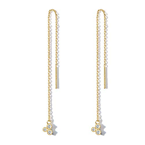 - FANCIME Yellow Gold Plated 925 Sterling Silver CZ Cubic Zircoia Threader Chain Tassel Drop Minimalism Earrings For Women Girls