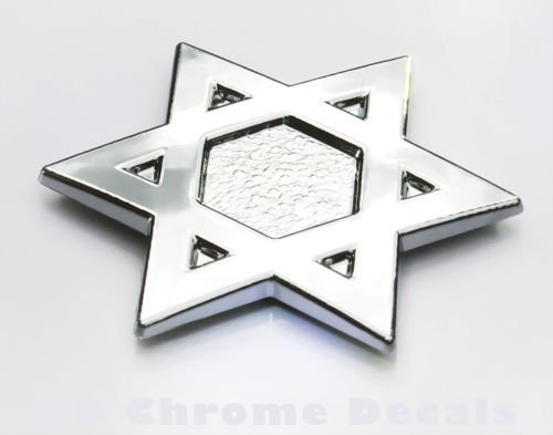 David`s Star Jewish Israel Car 3D chrome decal sticker