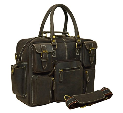 ADIMANI Vintage Crazy Horse Hunter Leather Laptop Briefcase Bag NotebookTravel Messenger Bag 16inches by ADIMANI