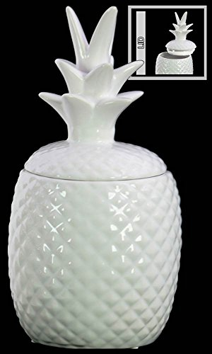 Porcelain Pineapple (Urban Trends Ceramic Pineapple Canister in Gloss Finish, Large, White)