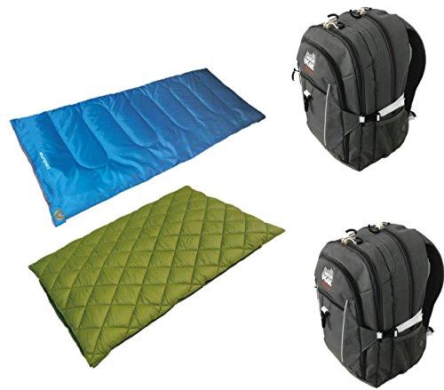 Cheap High Peak USA Alpinizmo Ceduna 20/Florida 20 Combo Sleeping Bags with 2 Backpacks, Grey/Blue/Green, One Size