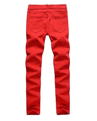 Tinta Fit Unita Pantaloni Strappato Elasticità Rosso Skinny Jeans Uomo Slim Alta 4Xw4dZ