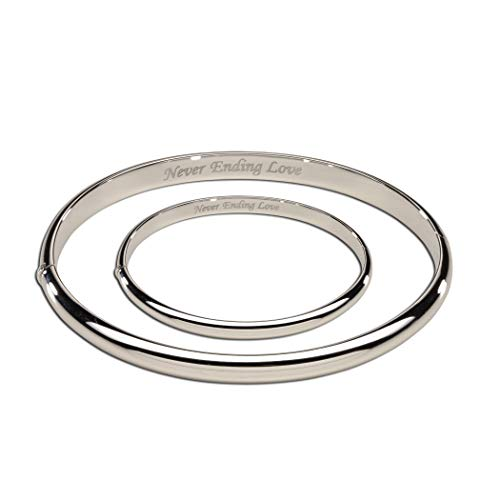 Sterling Silver Mom and Me Bangle Set with