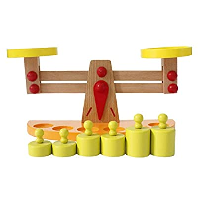Toyvian Wooden Balancing Toy Wooden Scale Toy Balance Games Counting Toys Montessori Toys for Kids Toddlers Children Girls Boys: Home & Kitchen