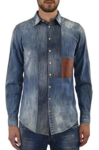 Dsquared2 Leather Jeans - DSQUARED2 Men's Jeans Shirt Leather Pocket - Size IT46 - Blue - Made in Italy