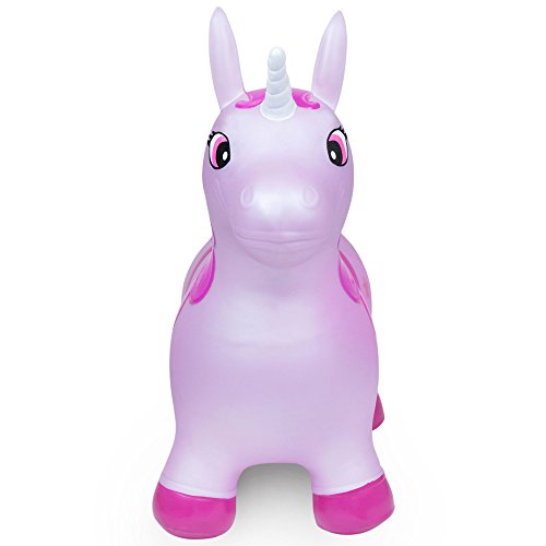 WADDLE Favorite Pink Unicorn Toy Space Hopper Ride On Large Inflatable Animal Kids Riding Bouncy Horse for Girls Twilight Sparkle Magical Pony Interactive for Toddlers and Children Gift Idea by WADDLE (Image #1)