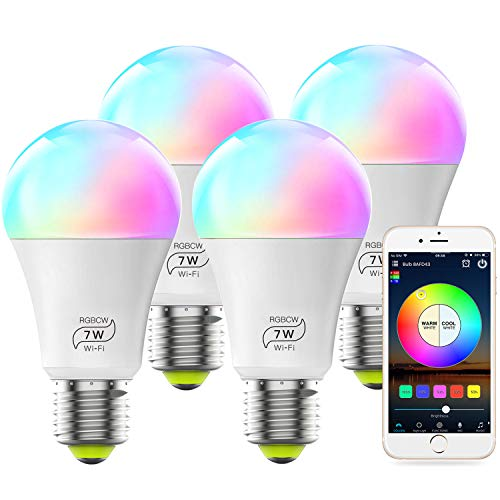 MagicLight WiFi Bulb No Hub Required, Dimmable Multicolor E26 A19 7W (60w Equivalent) Color Changing LED Smart Light, Compatible with Alexa Google Home Siri IFTTT
