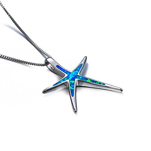 Toponly Womens Sterling Silver Charm Star Fish Pendant Necklace Jewelry Ornament (Blue) ()