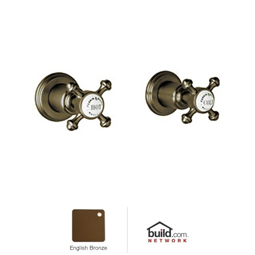 Rohl U.3751X-EB-2 Georgian Era Pair of Concealed Wall Valves with Porcelain CA, English Bronze, 1/2''