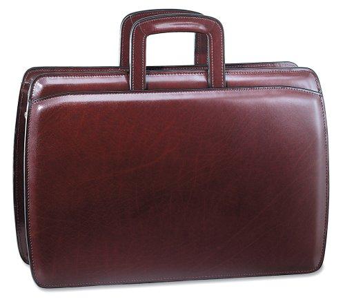 Jack Georges Mens Elements Slim Leather Briefcase in Burgundy Jack Georges Slim Briefcase