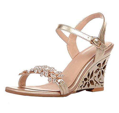 Dayiss Damen Knöchelriemchen Strass Sandalen mit Keilabsatz Sandaletten Sommerschuhe Gold