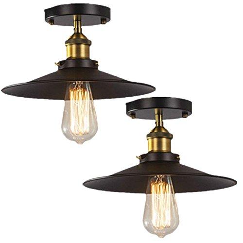 ight, Fadimikoo E26 E27 Base Vintage Metal Pendant Lighting Edison Simplicity Lamp Fixture, Brushed Black Finish, 2 Pack (Black Finish Brushed Finish)