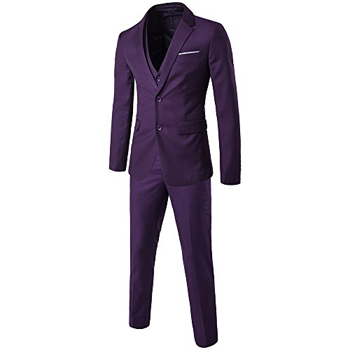 WEEN CHARM Men's Two Button Notch Lapel Slim Fit 3-piece Suit Blazer Jacket Tux Vest & Trousers (Suits Purple)
