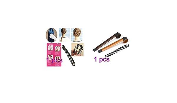 Hilai 2 moldes para hacer lazos de pelo (marrón/rubio) + 1 herramienta de trenzado de pelo francés para manualidades (negro): Amazon.es: Belleza