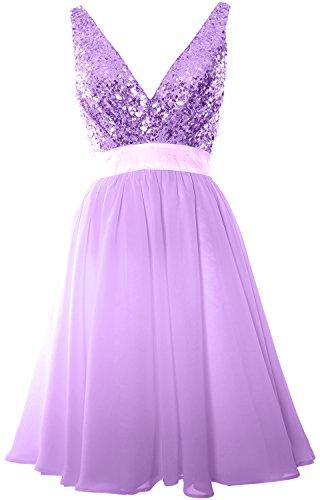 MACloth Women V Neck Sequin Cocktail Dress Vintage Short Formal Prom Party Gown Lavanda