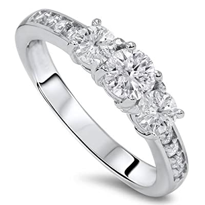 1ct Diamond 3 Three Stone Engagement Ring 10K White Gold