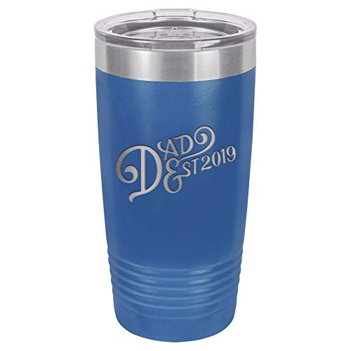 New Dad Gift Ideas | First Time Dad Est. 2019 Blue 20 oz Stainless Steel Tumbler w/Lid | Daddy w/Newborn | Dads to be Present | Expecting Father Presents | First Fathers Day Gift from Daughter Son