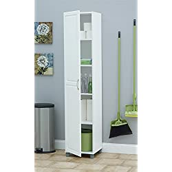 "Ameriwood SystemBuild Kendall 16"" Storage Cabinet, White Stipple"