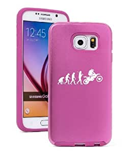 Samsung Galaxy S6 Aluminum Silicone Dual Layer Hard Case Cover Evolution Dirt MX Motocross Rider (Light Pink)