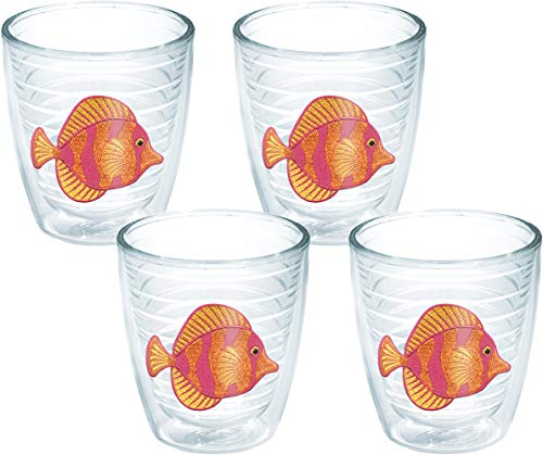 Tervis 1046399 Tropical Fish Tumbler with Emblem 4 Pack 12oz, Clear