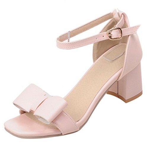 COOLCEPT Mujer Moda Al Tobillo Sandalias Punta Abierta Tacon Ancho Zapatos With Bowknot Rosado