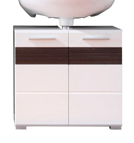 Trendteam MZ30112 Bad Waschbeckenunterschrank weiß Dekor mit Fronten in weiß Hochglanz,Absetzungen in Melinga Dark Oak Rillenstruktur, BxHxT 60x56x34 cm
